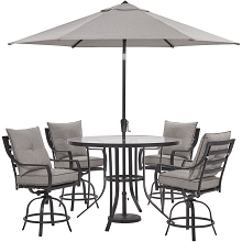 Hanover Lavallette 5-PC. Counter-Height Dining Set in Silver Linings w/ 4 Swivel Chairs, 52-In. Round Glass-Top Table, Umbrella, Base, LAVDN5PCBR-SLV-SU