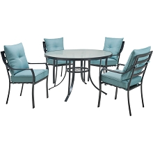 Hanover Lavallette 5-Piece Dining Set in Ocean Blue with 4 Stationary Chairs and a 52-In. Round Glass-Top Table, LAVDN5PCRD-BLU