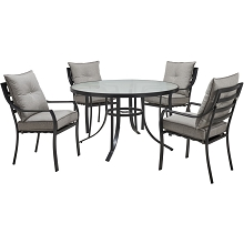 Hanover Lavallette 5-Piece Dining Set in Silver Linings with 4 Stationary Chairs and a 52-In. Round Glass-Top Table, LAVDN5PCRD-SLV