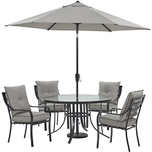 Hanover Lavallette 5-Piece Dining Set in Silver Linings with 4 Stationary Chairs, 52-In. Round Glass-Top Table, Umbrella, and Base, LAVDN5PCRD-SLV-SU