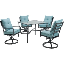 Hanover Lavallette 5-Piece Dining Set in Ocean Blue with 4 Swivel Rockers and a 42-In. Square Glass-Top Table, LAVDN5PCSW-BLU
