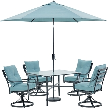 Hanover Lavallette 5-Piece Dining Set in Ocean Blue with 4 Swivel Rockers, 42-In. Square Glass-Top Table, Umbrella, and Base, LAVDN5PCSW-BLU-SU