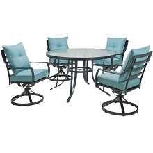 Hanover Lavallette 5-Piece Dining Set in Ocean Blue with 4 Swivel Rockers and a 52-In. Round Glass-Top Table, LAVDN5PCSWRD-BLU