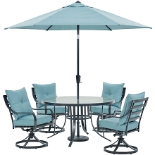 Hanover Lavallette 5-Piece Dining Set in Ocean Blue with 4 Swivel Rockers, 52-In. Round Glass-Top Table, Umbrella, and Base, LAVDN5PCSWRD-BLU-SU