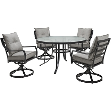 Hanover Lavallette 5-Piece Dining Set in Silver Linings with 4 Swivel Rockers and a 52-In. Round Glass-Top Table, LAVDN5PCSWRD-SLV