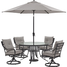 Hanover Lavallette 5-Piece Dining Set in Silver Linings with 4 Swivel Rockers, 52-In. Round Glass-Top Table, Umbrella, and Base, LAVDN5PCSWRD-SLV-SU