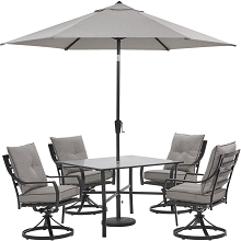Hanover Lavallette 5-Piece Dining Set in Silver Linings with 4 Swivel Rockers, 42-In. Square Glass-Top Table, Umbrella, and Base, LAVDN5PCSW-SLV-SU
