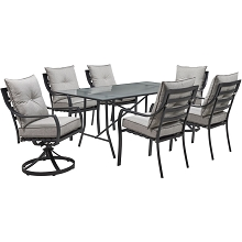 Hanover Lavallette 7-Piece Dining Set in Silver Linings with 4 Chairs, 2 Swivel Rockers, and a 66