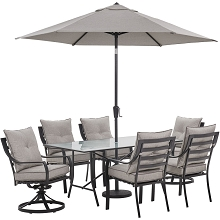 Hanover Lavallette 7-PC. Dining Set in Silver Linings w/ 4 Chairs, 2 Swivel Rockers, 66
