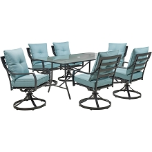 Hanover Lavallette 7-Piece Dining Set in Ocean Blue with 6 Swivel Rockers and a 66