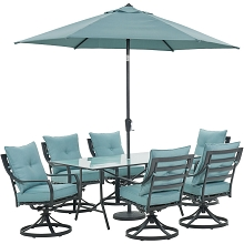 Hanover Lavallette 7-Piece Dining Set in Ocean Blue with 6 Swivel Rockers, 66