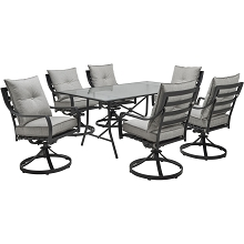 Hanover Lavallette 7-Piece Dining Set in Silver Linings with 6 Swivel Rockers and a 66