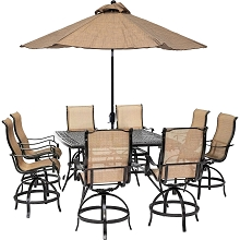Hanover Manor 9-Piece Counter-Height Outdoor Dining Set with 8 Sling Swivel Chairs, 60-In. Cast-Top Table, Umbrella and Stand, MANDN9PCSQ-BR-SU