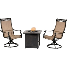 Hanover Monaco 3-Piece Fire Pit Chat Set with 2 Contoured-Sling Swivel Rockers and a 26-In. Square Fire Pit Side Table, MON3PCSWFPSQ