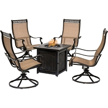 Hanover Monaco 5-Piece Fire Pit Chat Set with 4 Contoured-Sling Swivel Rockers and a 26-In. Square Fire Pit Table, MON5PCSWFPSQ