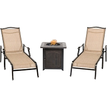 Hanover Monaco 3-Piece Fire Pit Lounge Set with 2 Chaise Lounges and a 26-In. Square Fire Pit Side Table, MONCHS3PCFPSQ