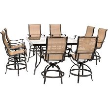 Hanover Monaco 9-Piece Counter-Height Outdoor Dining Set with 8 Sling Swivel Chairs and a 60-In. Square Glass-Top Table, MONDN9PCBRSQG