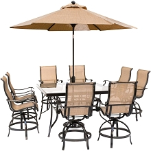 Hanover Monaco 9-Piece Counter-Height Outdoor Dining Set with 8 Sling Swivel Chairs, 60-In. Glass-Top Table, Umbrella and Stand, MONDN9PCBRSQG-SU