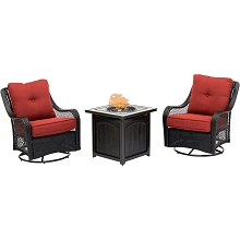 Hanover Orleans 3-Piece Fire Pit Chat Set in Autumn Berry with 2 Woven Swivel Gliders and a 26-In. Square Fire Pit Side Table, ORL3PCFPSQ-BRY