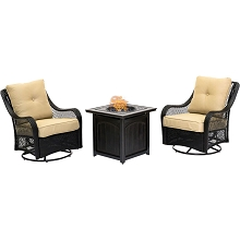 Hanover Orleans 3-Piece Fire Pit Chat Set in Sahara Sand with 2 Woven Swivel Gliders and a 26-In. Square Fire Pit Side Table, ORL3PCFPSQ-TAN