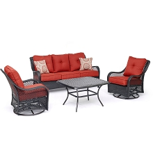 Hanover Orleans 4-Piece Woven Lounge Set in Autumn Berry with 2 Woven Swivel Gliders, Sofa, and a Cast-top Coffee Table, ORL4PCCTSW2-BRY