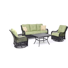 Hanover Orleans 4-Piece Woven Lounge Set in Avocado Green with 2 Woven Swivel Gliders, Sofa, and a Cast-top Coffee Table, ORL4PCCTSW2-GRN