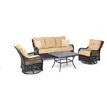 Hanover Orleans 4-Piece Woven Lounge Set in Sahara Sand with 2 Woven Swivel Gliders, Sofa, and a Cast-top Coffee Table, ORL4PCCTSW2-TAN
