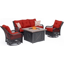 Hanover Orleans 4-Piece Woven Fire Pit Lounge Set in Autumn Berry with Sofa, 2 Swivel Gliders and Durastone Fire Pit, ORL4PCDFPSW2-BRY