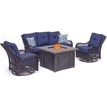 Hanover Orleans 4-Piece Woven Fire Pit Lounge Set in Navy Blue with Sofa, 2 Swivel Gliders and Durastone Fire Pit, ORL4PCDFPSW2-NVY