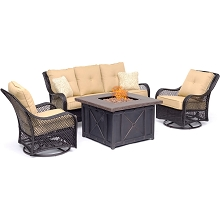 Hanover Orleans 4-Piece Woven Fire Pit Lounge Set in Sahara Sand with Sofa, 2 Swivel Gliders and Durastone Fire Pit, ORL4PCDFPSW2-TAN