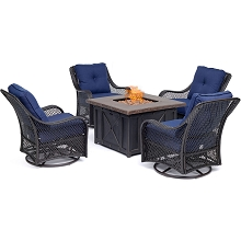 Hanover Orleans 5-Piece Fire Pit Chat Set in Navy Blue with 4 Woven Swivel Gliders and a Durastone Fire Pit, ORL5PCDFPSW4-NVY