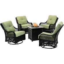 Hanover Orleans 5-Piece Fire Pit Chat Set in Avocado Green with 4 Woven Swivel Gliders and a 26-In. Square Fire Pit Table, ORL5PCFPSQ-GRN