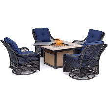 Hanover Orleans 5-Piece Woven Fire Pit Chat Set in Navy Blue with 4 Woven Swivel Gliders and 40,000 BTU Tile-Top Fire Pit Table, ORL5PCTFPSW4-NVY
