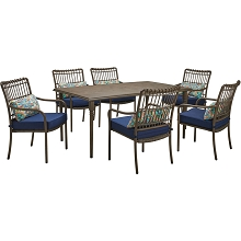 Hanover Summerland 7-Piece Outdoor Dining Set with 6 Stationary Chairs and a 68 x 40 Faux-Wood Table, SUMDN7PC-NVY