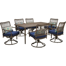 Hanover Summerland 7-Piece Outdoor Dining Set with 6 Swivel Rockers and a 68 x 40 Faux-Wood Table, SUMDN7PCSW6-NVY