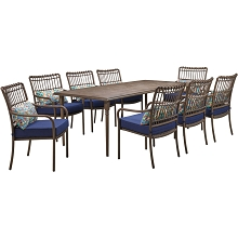 Hanover Summerland 9-Piece Outdoor Dining Set with 8 Stationary Chairs and a 82 x 40 Faux-Wood Table, SUMDN9PC-NVY