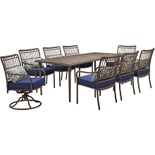 Hanover Summerland 9-Piece Outdoor Dining Set with 6 Stationary Chairs, 2 Swivel Rockers, and a 82 x 40 Faux-Wood Table, SUMDN9PCSW2-NVY