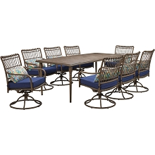 Hanover Summerland 9-Piece Outdoor Dining Set with 8 Swivel Rockers and a 82 x 40 Faux-Wood Table, SUMDN9PCSW8-NVY