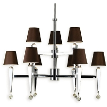 6900 9-Light Chandelier- Chocolate Shades