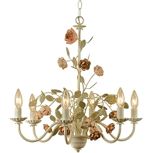 Ramblin' Rose Six Light Chandelier - 7050-6H