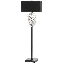 Grill Floor Lamp- Silver and Black - 8423-FL
