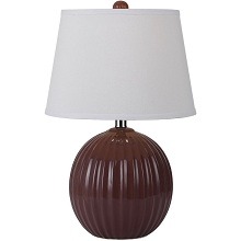 Bleeker Ceramic Ribbed Ball Table Lamp- Red - 8567-TL