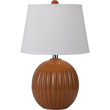 Bleeker Ceramic Ribbed Ball Table Lamp- Orange - 8569-TL
