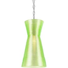 Aimee Mini Recycled Woven Plastic Pendant- Neon Green - 8579-1P