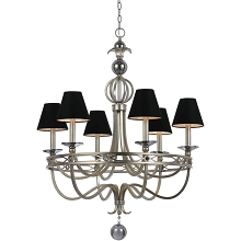 8700 6-Light Chandelier- Black Shades
