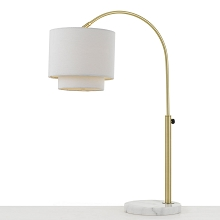 AF Lighting Arched Table Lamp in Brushed Gold with Fabric Shade - 9123-TL