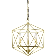 AF Lighting Bellini Three-Light Chandelier in Brushed Gold - 9131-3H