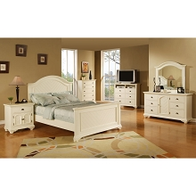 Cambridge Hyde Park 5-Piece Bedroom Suite in White with Queen Bed, Dresser, Mirror, Chest, Nightstand - 98101A5Q1-WH
