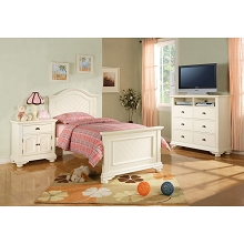Cambridge Hyde Park 5-Piece Bedroom Suite in White with Twin Bed, Dresser, Mirror, Chest, Nightstand - 98101A5T1-WH