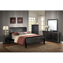 Cambridge Piedmont 5-Piece Bedroom Suite in Black with Twin Bed, Dresser, Mirror, Chest and Nightstand - 98102A5T1-BK